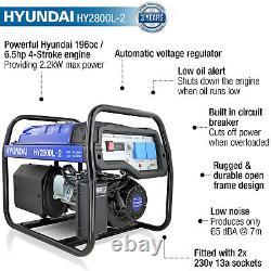 Generator Petrol Electric Start 2.2kW 2200W 2kVA Catering Portable Site HYUNDAI