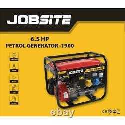 Jobsite 2000W Petrol Portable Camping Generator 4 Stroke 230v 6.5HP Recoil start