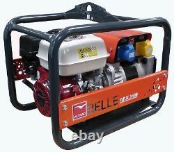 NEW BELLE GPX3400 GENERATOR 3.4kVA HONDA GX200 PETROL ENGINE 110v 230v SITE