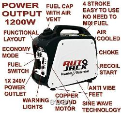 Portable Inverter Petrol Generator 4 Stroke 4HP 1200W 12V 240V COLLECTION ONLY