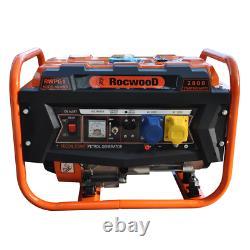 Portable Petrol Generator 6500W RocwooD 4 Stroke 110v 8HP Recoil Start FREE Oil