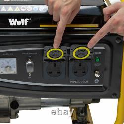 Wolf Petrol Generator WPL3000LR 2500w 3.12KVA 5.5HP 4 Stroke Single Voltage
