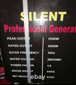 6 Kva New Powertech Pt6500ws Silent Professionnel Générateur D'essence 6500w