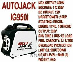 Autojack Portable Onduleur Valise Silencieux Essence Générateur 4 Stroke 800w 240v