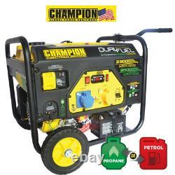Champion 2800 Watt Générateur De Carburant Double Avec Démarrage Électrique Royaume-uni Spec Cpg3500e2-df