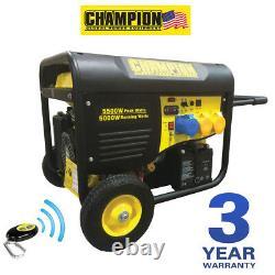 Champion Cpg6500 5500 Watts Générateur D'essence Remote Start Uk Spec Nouveau Portable