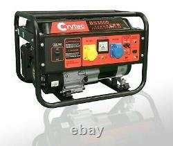 Crytec Portable Essence Générateur Électrique 110 / 230v 3.5kw Camping Calme Et Puissance