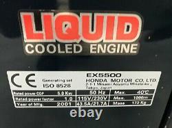 Honda Ex5500 Générateur Refroidi À L'eau, Très Silencieux, Bon État