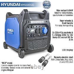 Hyundai Essence Inverter Generator 6600w 6.6kw 8.25kva Démarrage De La Clé À Distance Hy6500sei