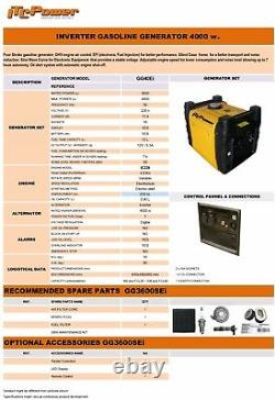 Itc Gg40ei Petrol Generator Electric Start 4000w Garantie De 3 Ans
